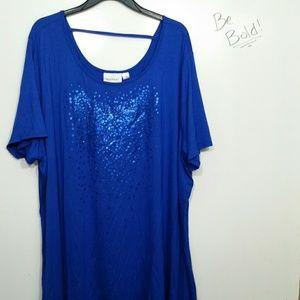 Avenue plus size 26/28 blue sequin shirt used